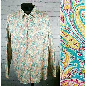 NWT Alan Flusser men's paisley button up shirt